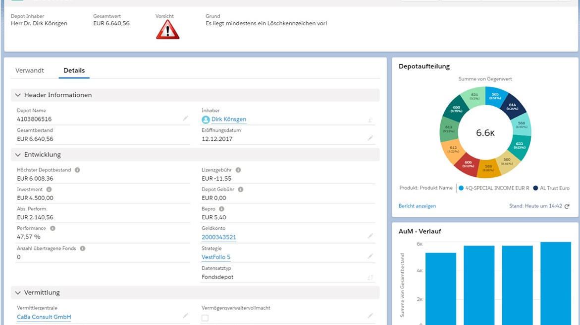 Asset Management CRM CAMP - Depot Ansicht - Asset Manager - Screenshot