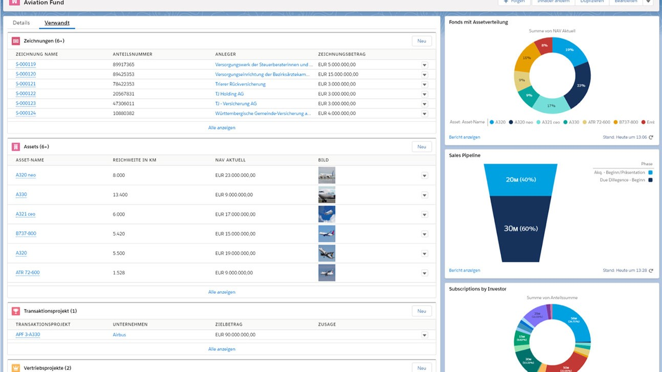 Asset Management CRM CAMP - Fonds Ansicht - Asset Manager - Screenshot