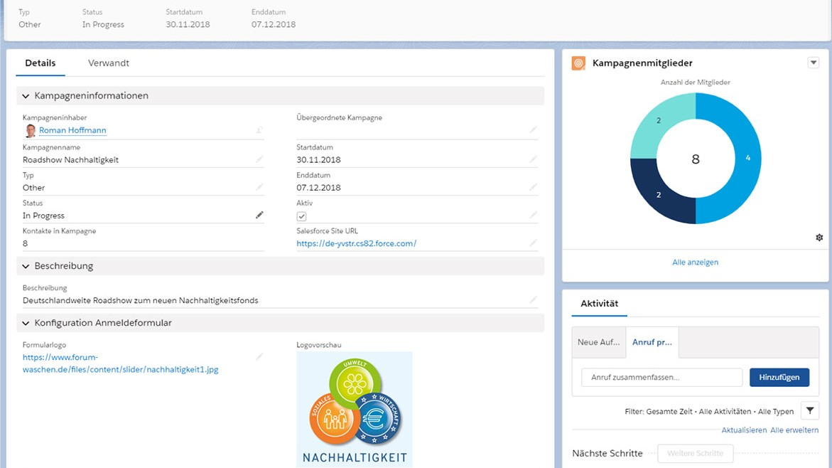 Asset Management CRM CAMP - Kampagne Ansicht - Asset Manager - Screenshot