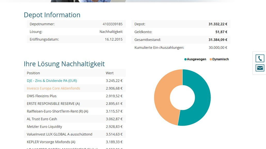 Asset Management CRM CAMP - Kundenportal - Investor - Screenshot